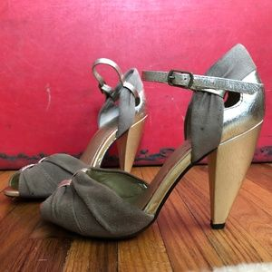 Like-New Seychelles Gold and Suede Peep Toe Sandal
